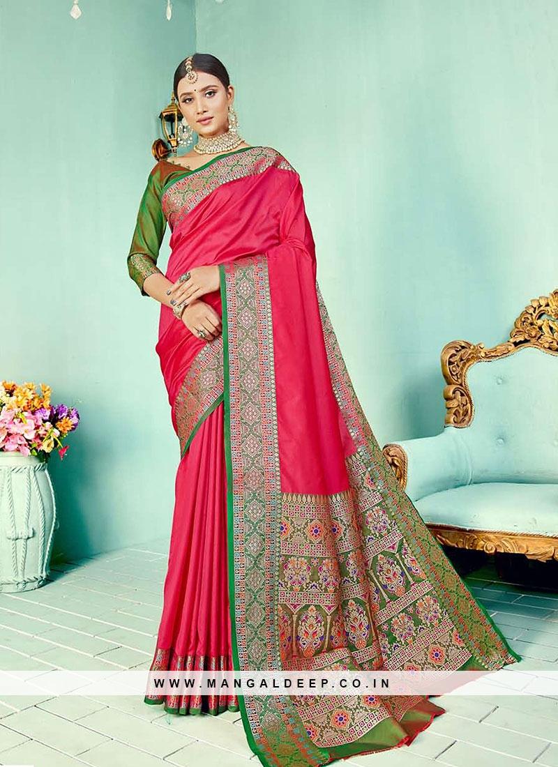 Pink Color Two Tone Silk Designer Saree