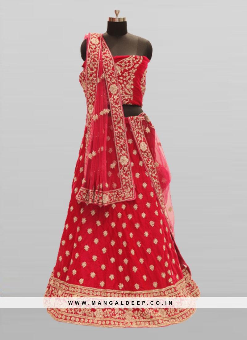 Pink Color Velvet Lehenga For Bridal