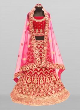 Pink Color Velvet Wedding Lehenga