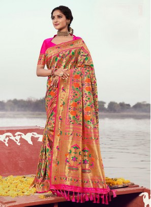 Pink Color Zari Work Saree In Silk