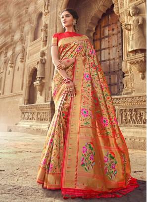 Pink Color Zari Work Silk Saree