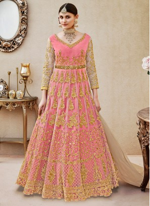Pink Floor length anarkali Suit