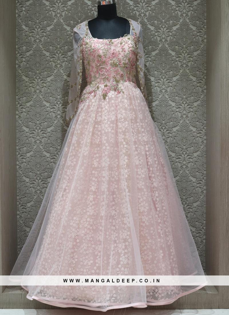Pink Net Designer Reception Wear Gown