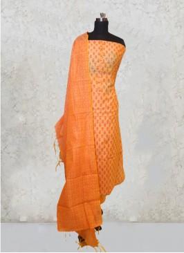 Pista Chanderi Silk Hand Work Salwar Kameez