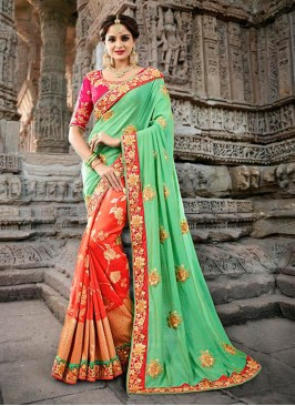 Pista Green and Orange Half N Half Designer Traditional Saree