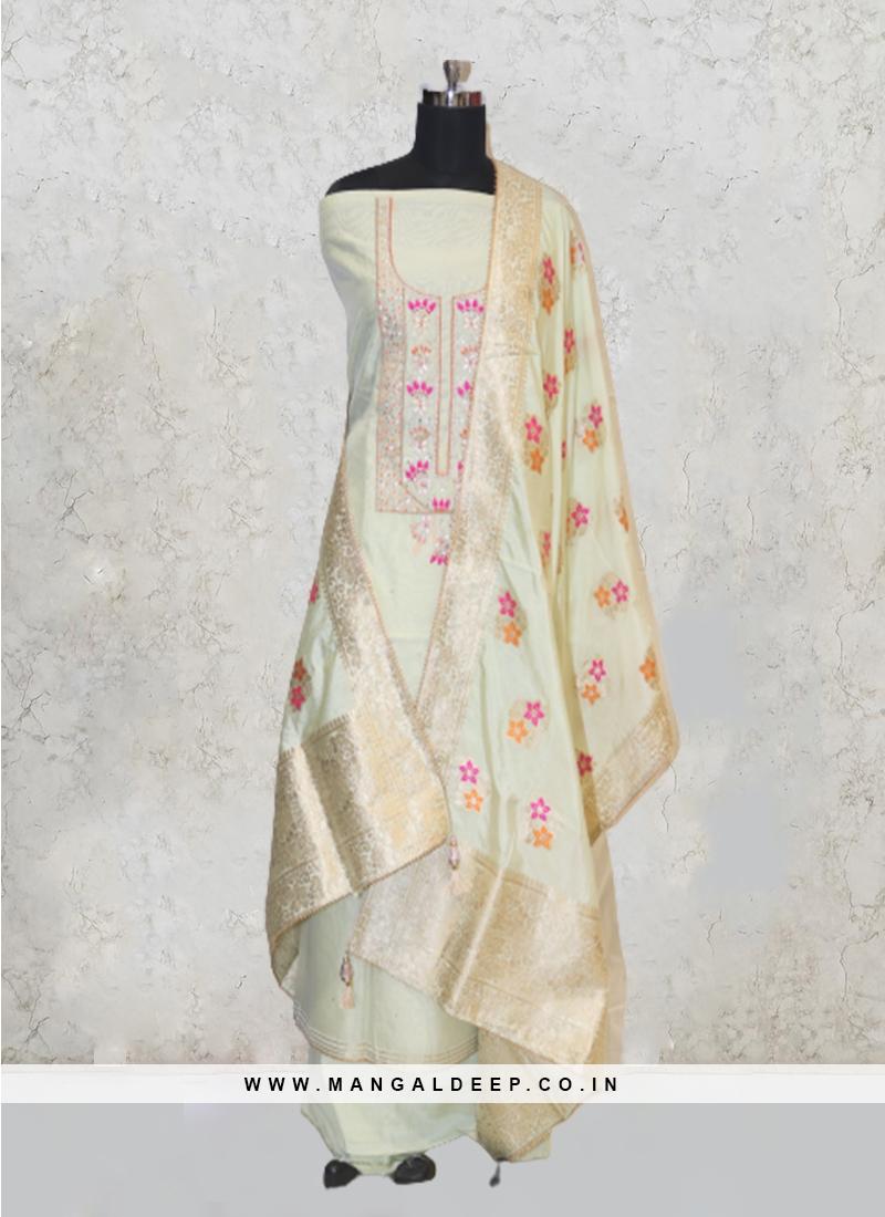Pista Green Chanderi Silk Hand Work Salwar Kameez