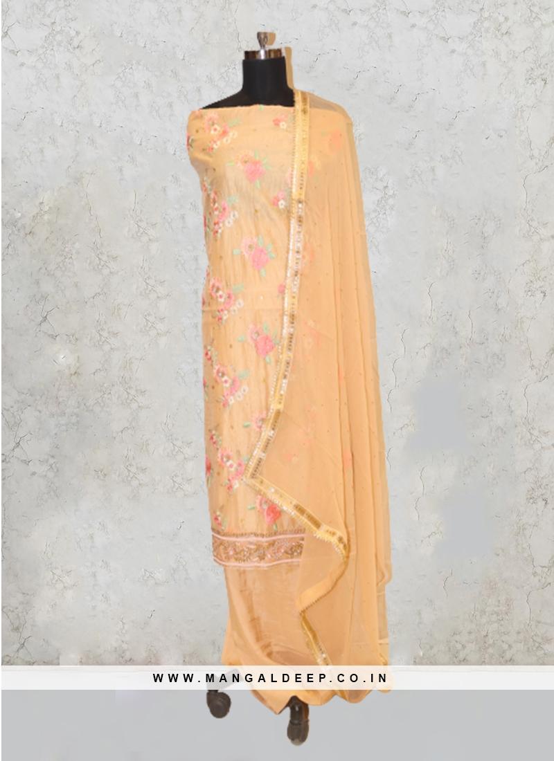 Pista Green Chanderi Silk Lace Pearl Work Salwar Kameez