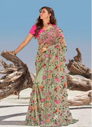 Pista Green Color Applique Flower Net Saree