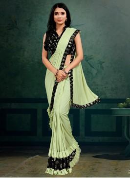 Pista Green Color Classic Saree
