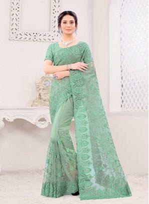 Pista Green Color Dazzling Saree