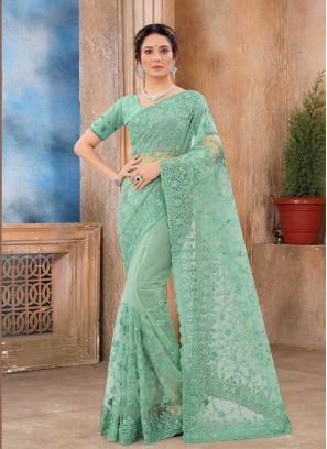 Pista Green Color Designer Saree