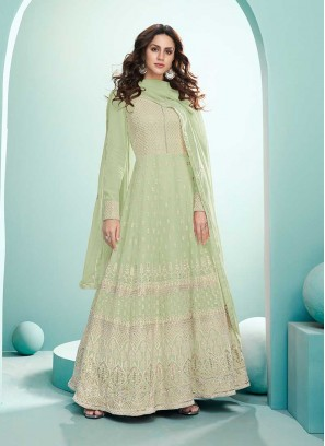 Pista Green Color Embroidered Suit