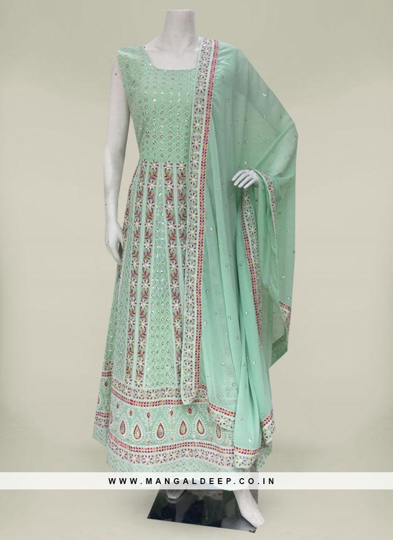 Pista Green Color Georgette Anarkali Suit