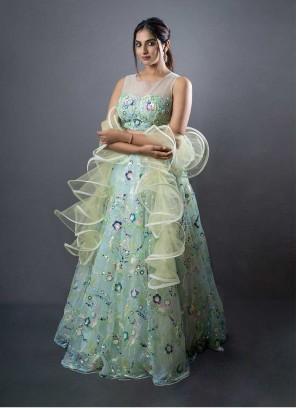 Pista Green Color Imported Sequins Work Lehenga