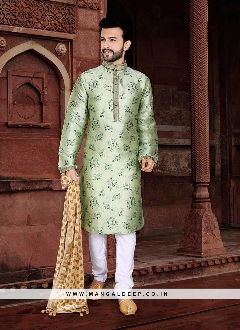 Pista Green Color Mens Wear Kurta