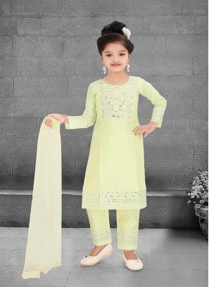 Pista Green Color Resham Work Kids Salwar Kameez
