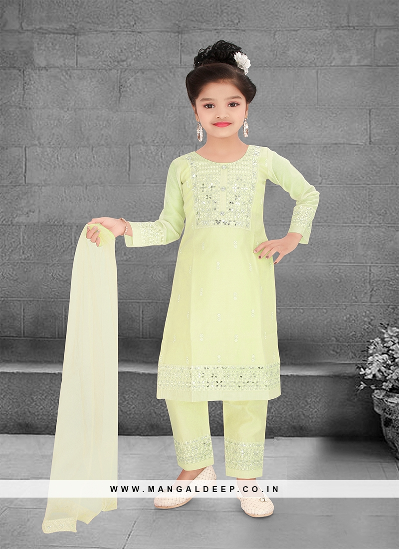 Pista Green Color Resham Work Kids Salwar Kameez