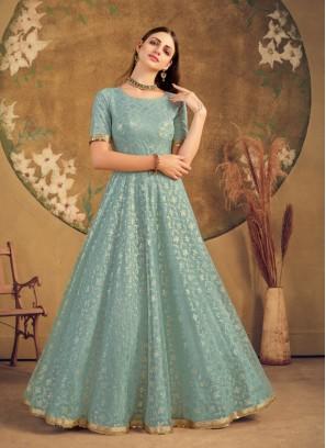Pista Green Color Net Anarkali Gown