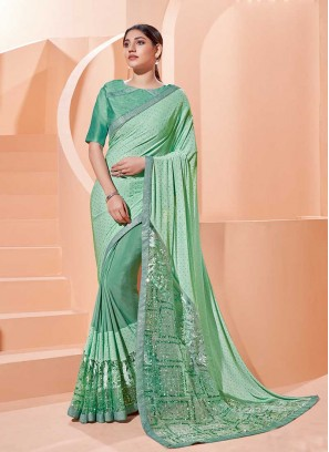 Pista Green Color Net And Silk Saree
