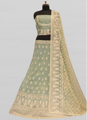 Pista Green Color Net Wedding Lehenga Choli