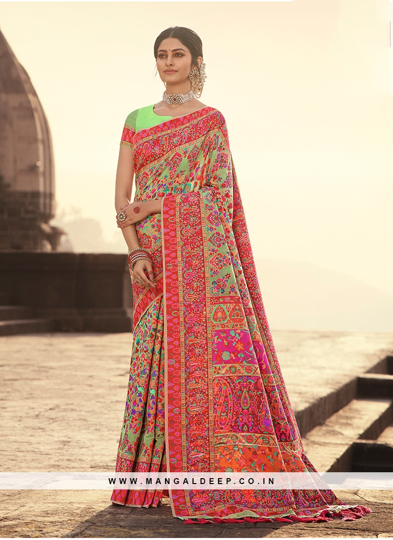 Pista Green Color Silk Zari Work Saree