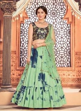 Pista Green Cotton Diwali Wear Lehenga