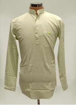 Pista Green Cotton Mens Wear Kurta