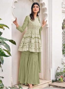 Pista Green Embroidered Georgette Sharara
