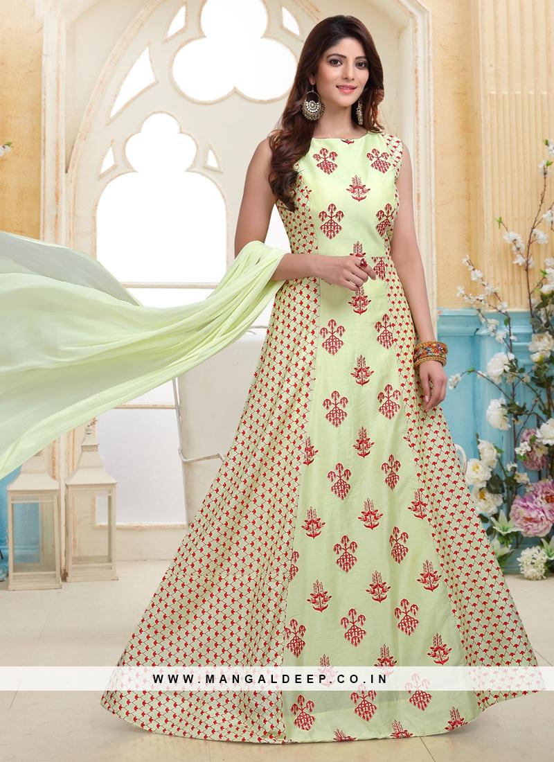 Pista Green Embroidered work Designer Readymade Anarkali Suit