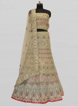 Pista Green Net Resham Work Lehenga For Bride