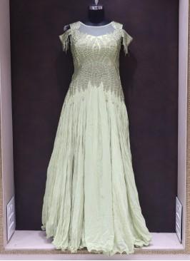 Pista Green Resham Work Designer Reception Wear Gown