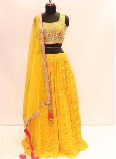 Pithi Wear Yellow Color Georgette Lehenga