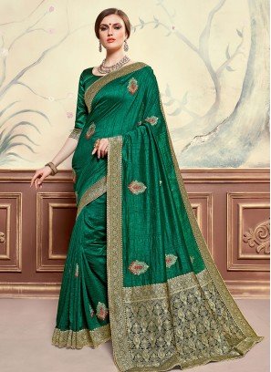 Poly Silk Festive Wear Embroidered Saree In Green Color