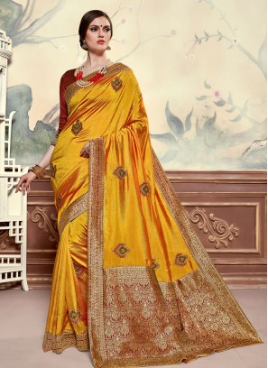Poly Silk Festive Wear Embroidered Saree In Mustard Color