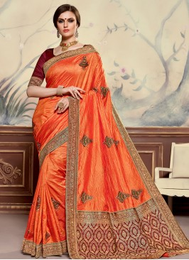 Poly Silk Festive Wear Embroidered Saree In Orange Color
