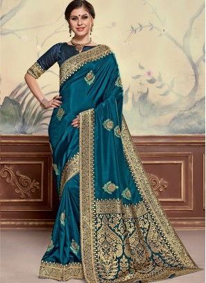 Poly Silk Festive Wear Embroidered Saree In Teal Color