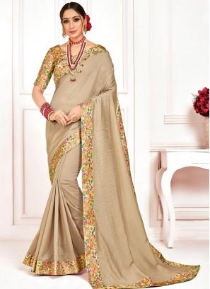 Poly Silk Party Wear Beige Color Saree