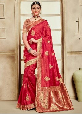 Poly Silk Party Wear Red Color Embroidered Saree