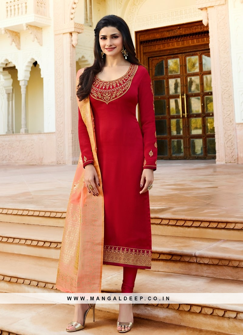 Prachi Desai Red Embroidered Salwar Suit With Silk Dupatta