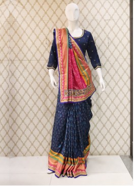 Pure Patoda Silk Navy Blue Handwork Saree