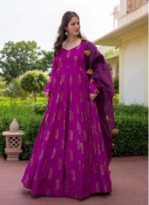 Purple Color Bandhani Print Suit