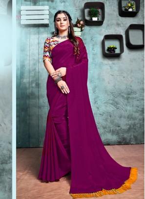 Purple Color Chiffon Simple Saree