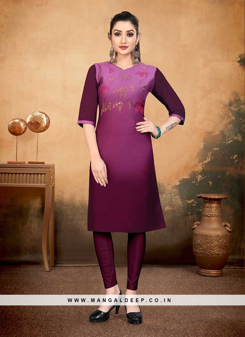 Purple Color Cotton Fancy Kurti