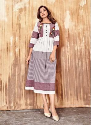 Purple Color Cotton Long Kurti