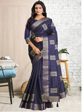 Purple Color Cotton Silk Saree For Woman