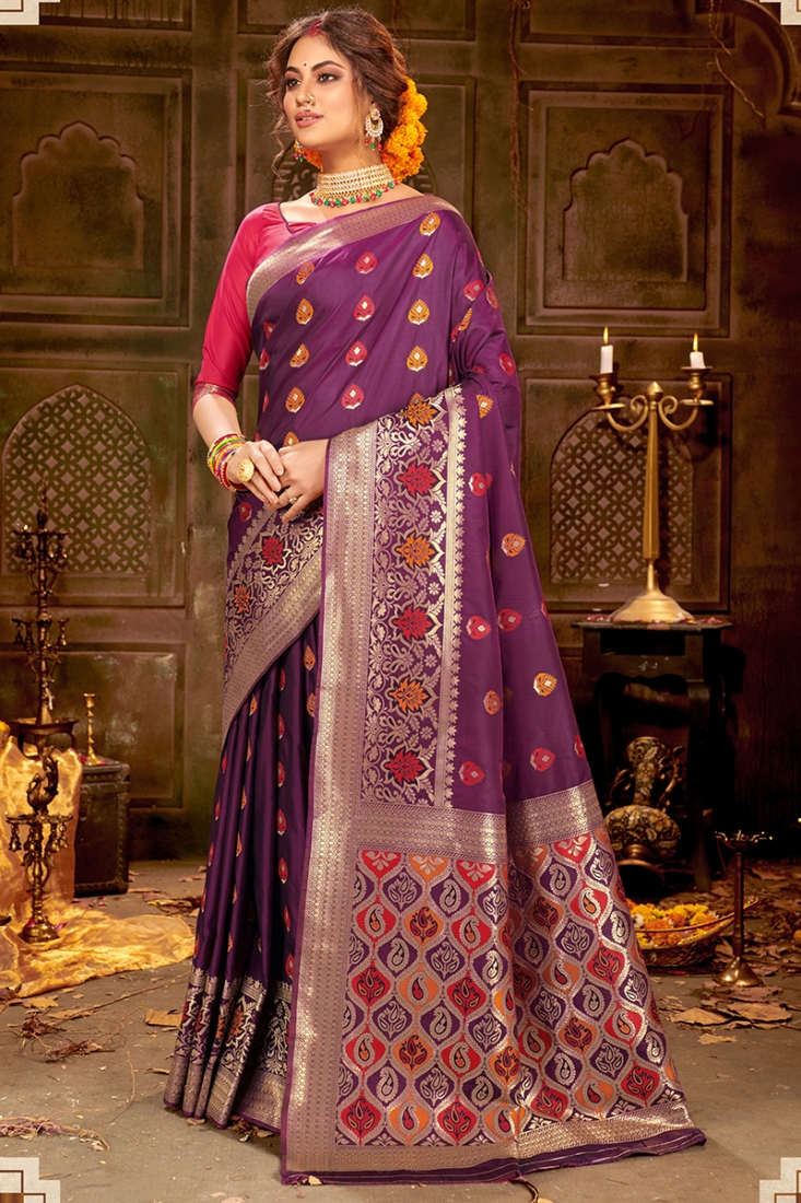 Purple Color Designer Saree In Silk Fabric