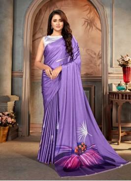 Purple Color Floral Print Saree