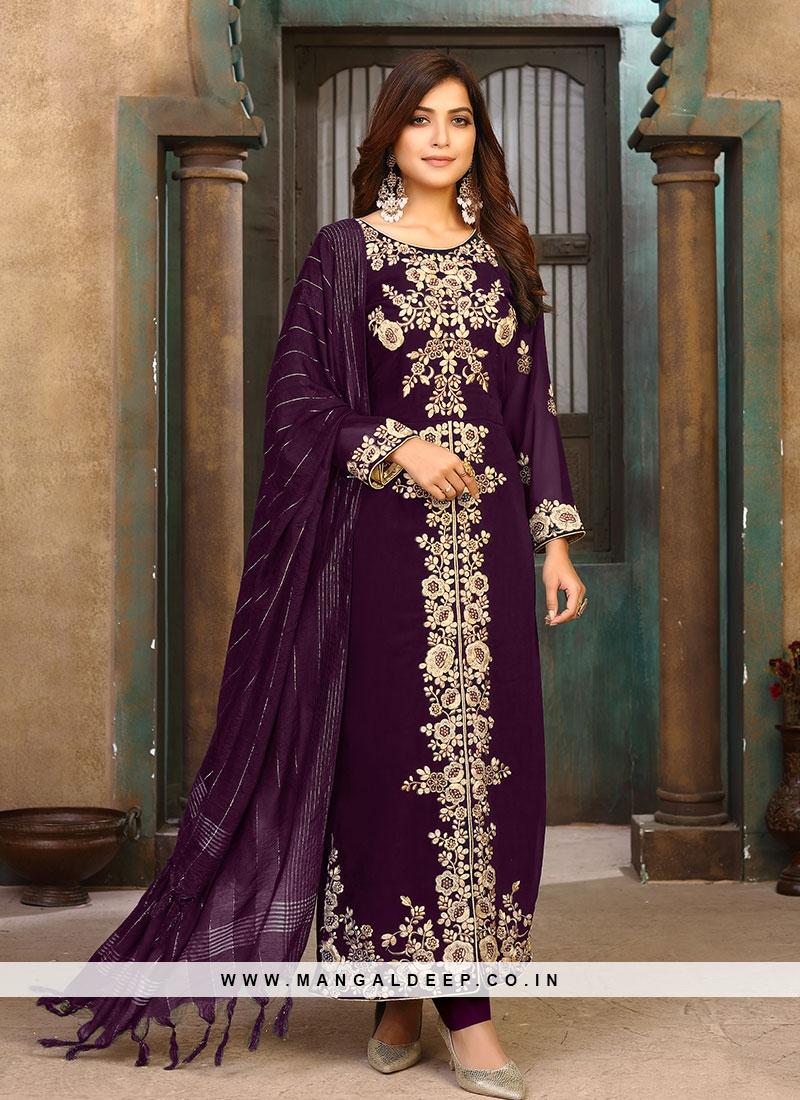 Purple Color Georgette Embroidered Salwar Suit