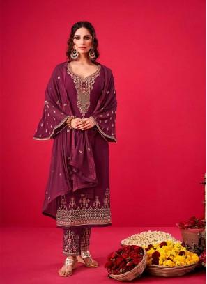 Purple Color Georgette Pakistani Suit