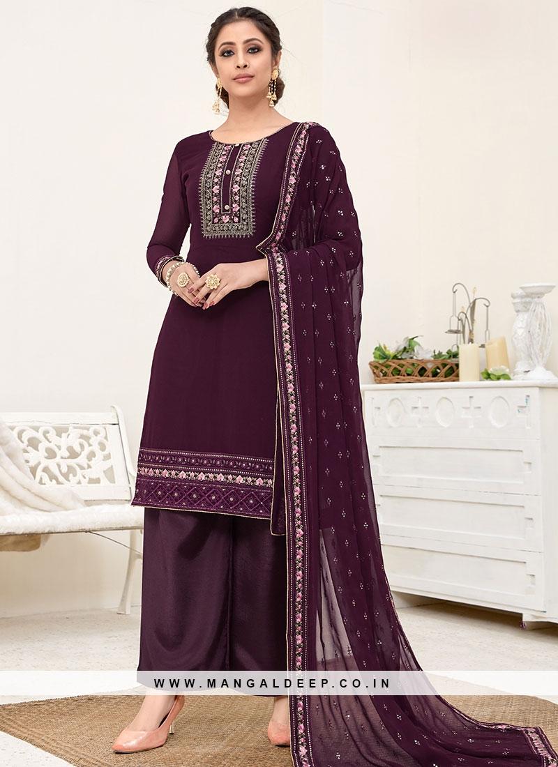 Purple Color Georgette Palazzo Suit